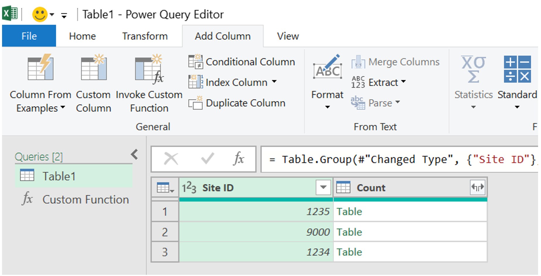 Table 1 in the Power Query Editor