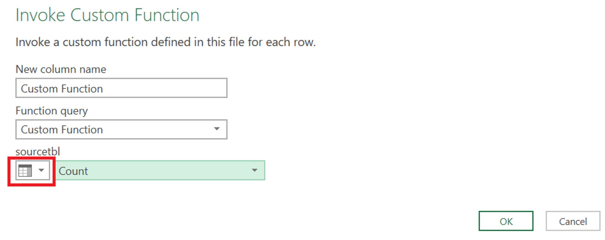 Invoke Custom Function Dialogue Box